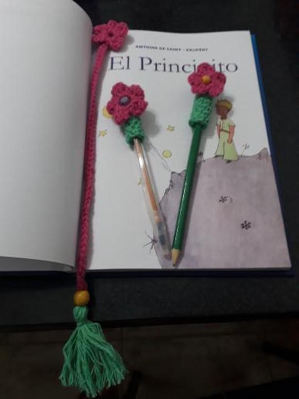 Flores para lápices crochet