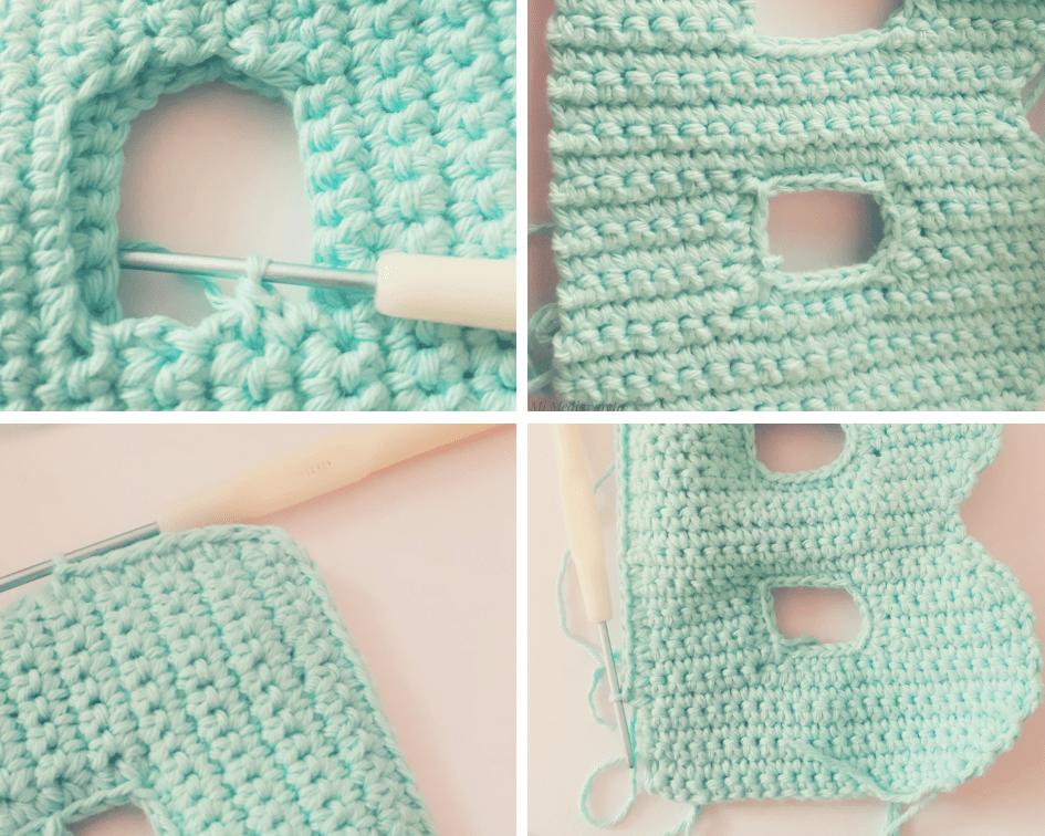 como coser la letra b tejida a crochet