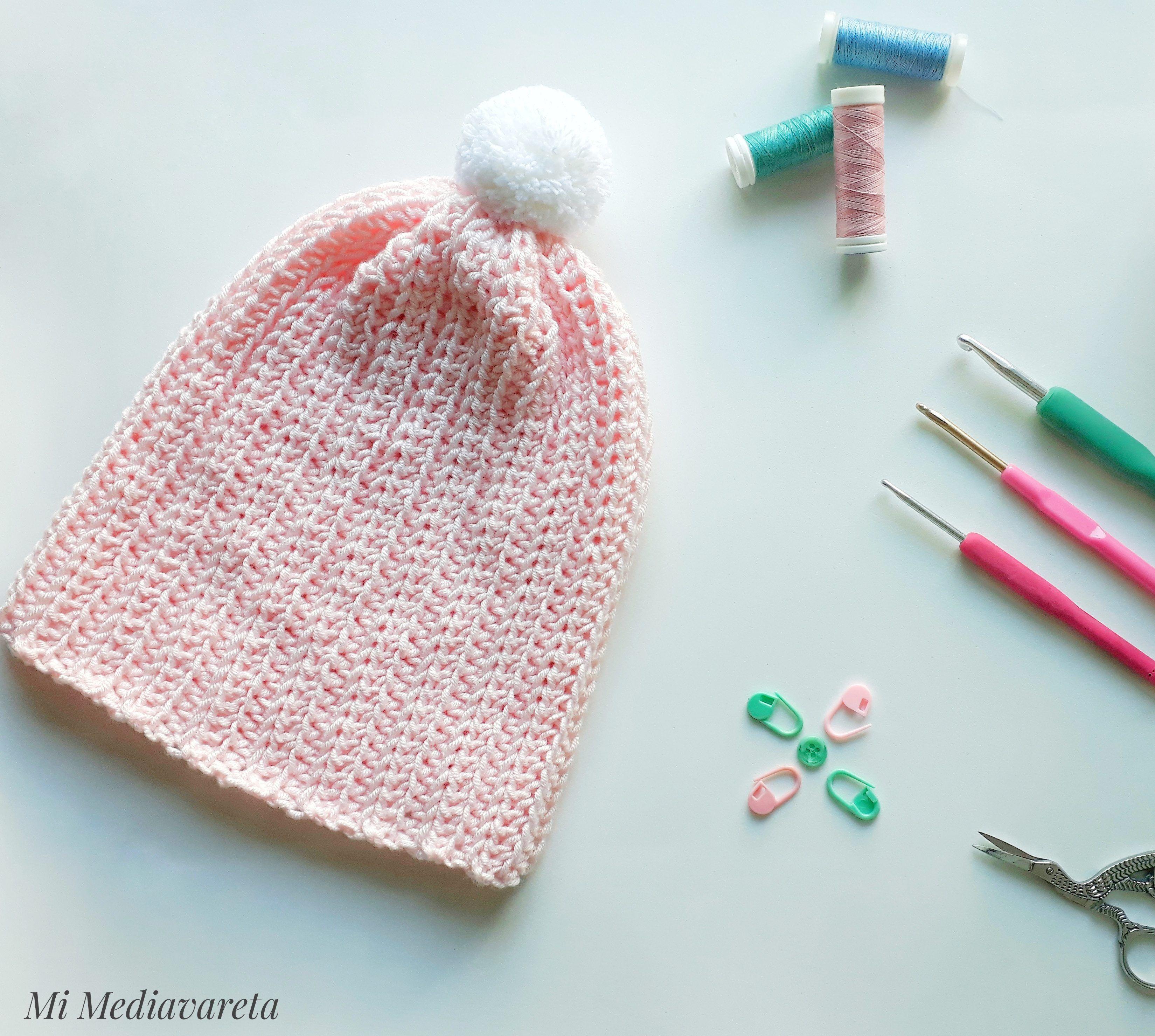 Gorro Acanalado tejido a crochet en punto elástico