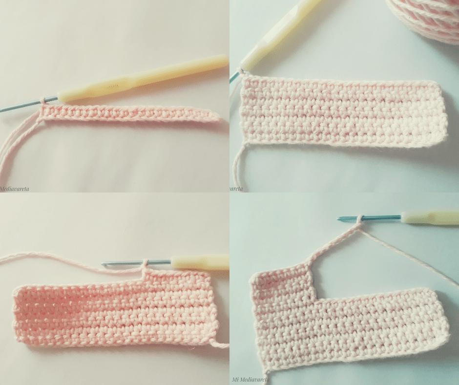 Letra E tejida a crochet con paso a paso