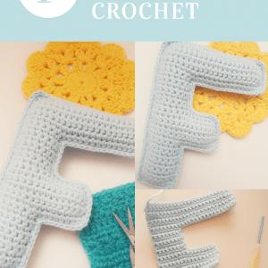tutorial para tejer la letra F a crochet paso a paso