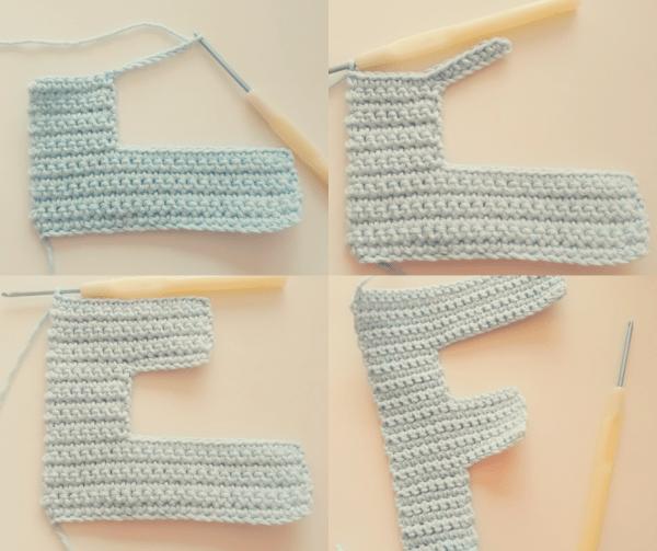 letra F paso a paso a crochet