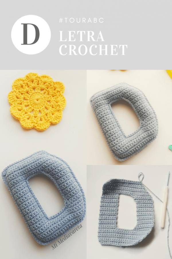 letra D a crochet con paso a paso