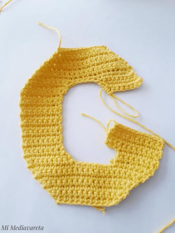 Letra G a crochet con paso a paso