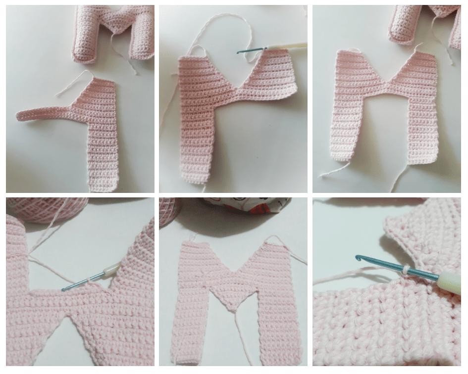 tutorial paso a paso para aprender a tejer la letra M a crochet