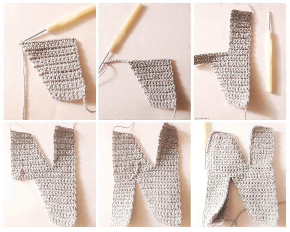 tutorial Letra N paso a paso a crochet