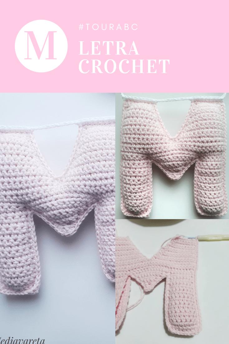 Tutorial para tejer la letra M del abecedario a crochet