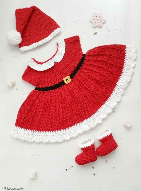 vestido navideño para bebe a crochet