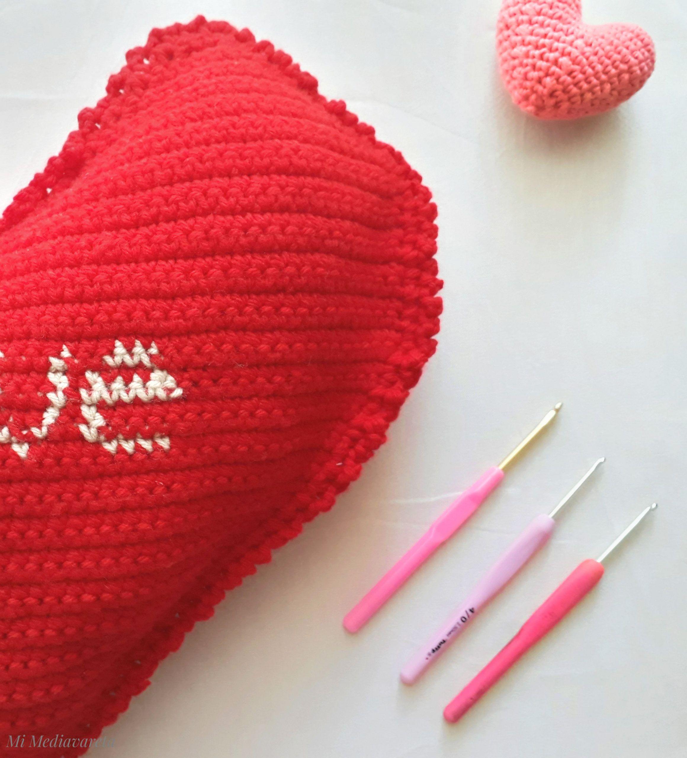 tutorial para tejer un almohadon corazon