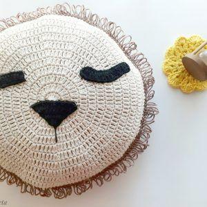 patrón almohada leon tejida a crochet
