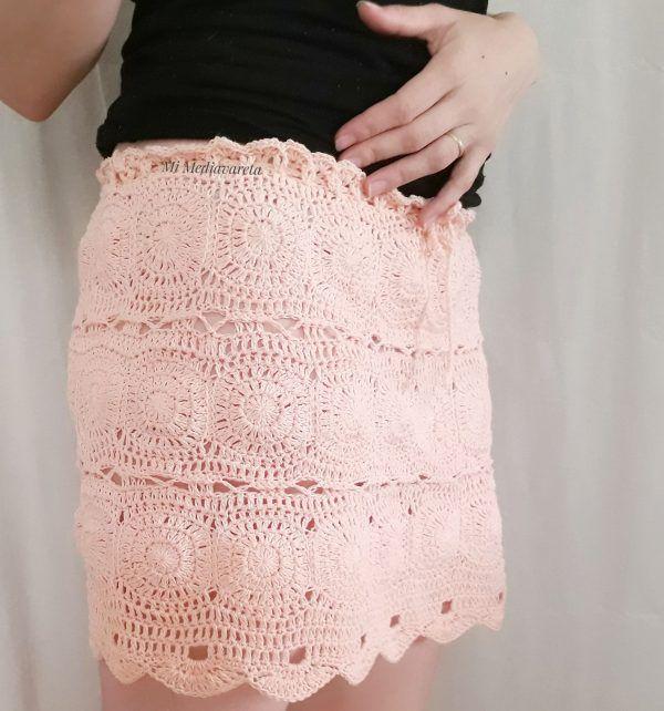 Falda tejida a crochet con patrón escrito mas fotos de todo el paso a paso