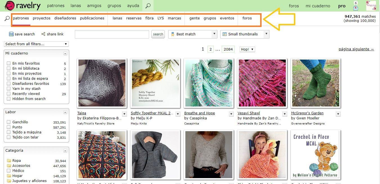 tutorial para aprender a buscar patrones de crochet en Ravelry paso a paso