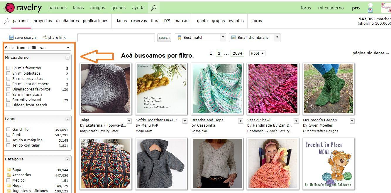 tutorial para aprender a buscar patrones de crochet en Ravelry paso a paso.