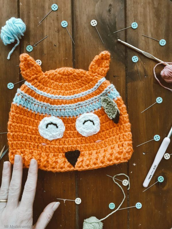 Patrón crochet gorro niños animales zorro