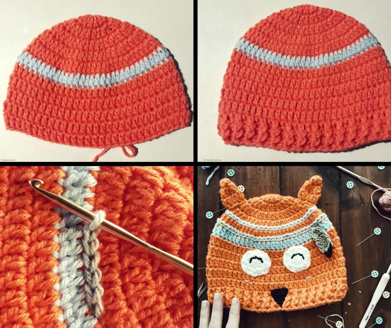 Gorro zorro niños a crochet