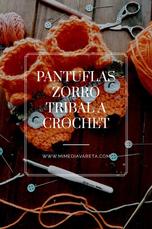 tutorial pantuflas a crochet zorro para niños