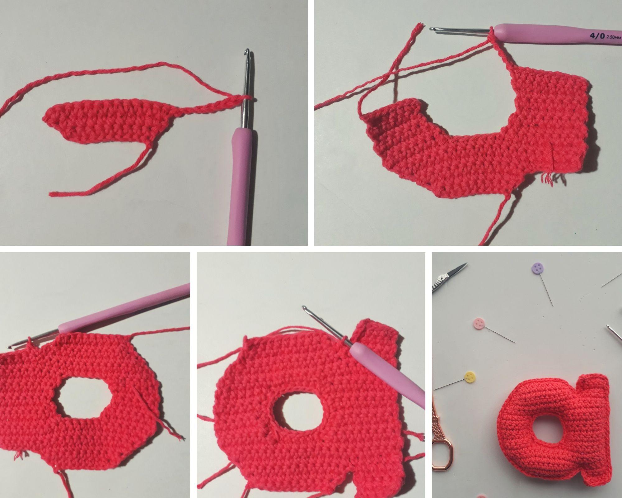 aprende a tejer la letra A minúscula a crochet