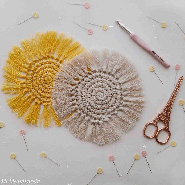 Aprende a tejer un posa vaso estilo macramé a crochet