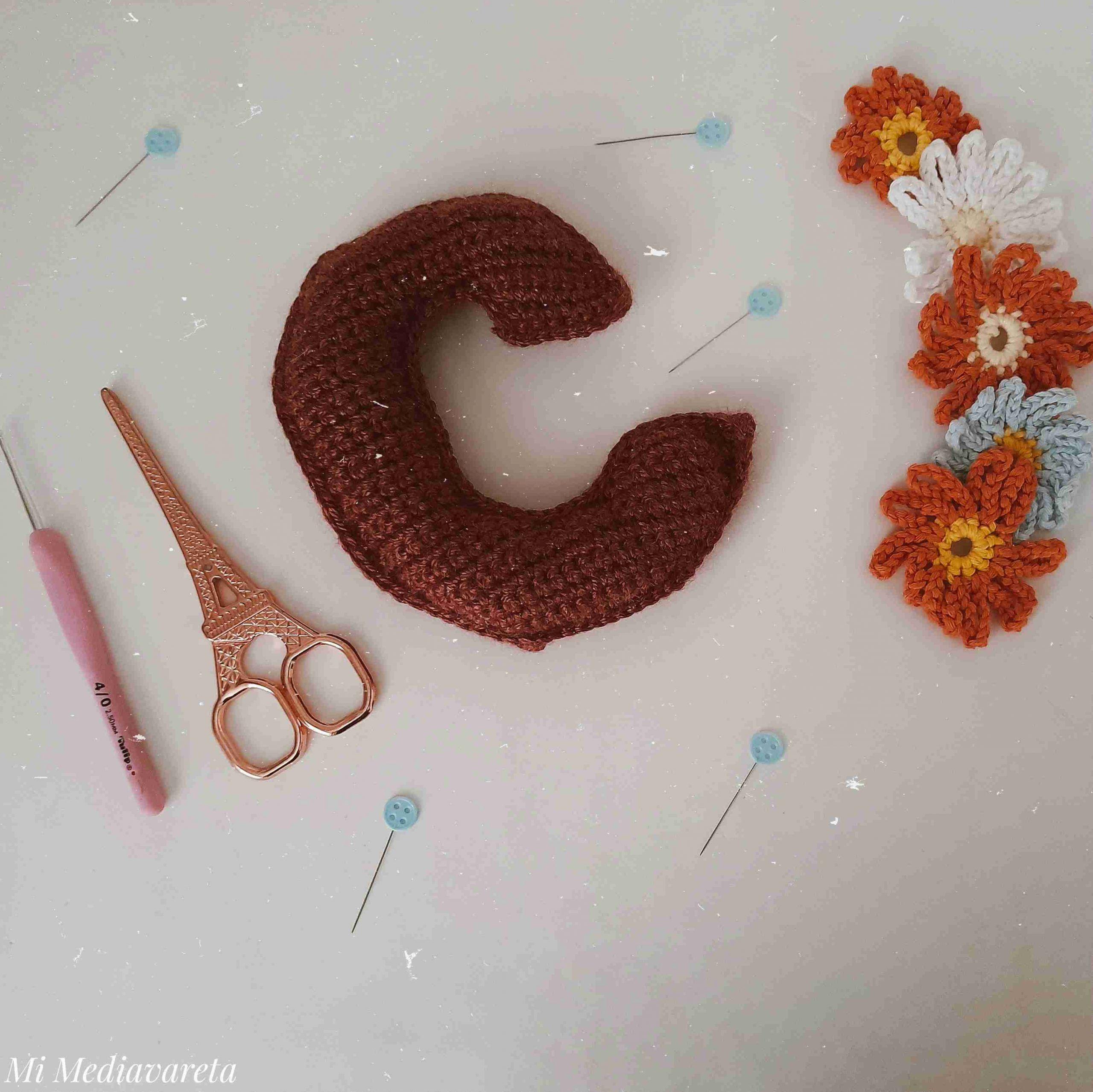 Tutorial letra C minúscula a crochet paso a paso