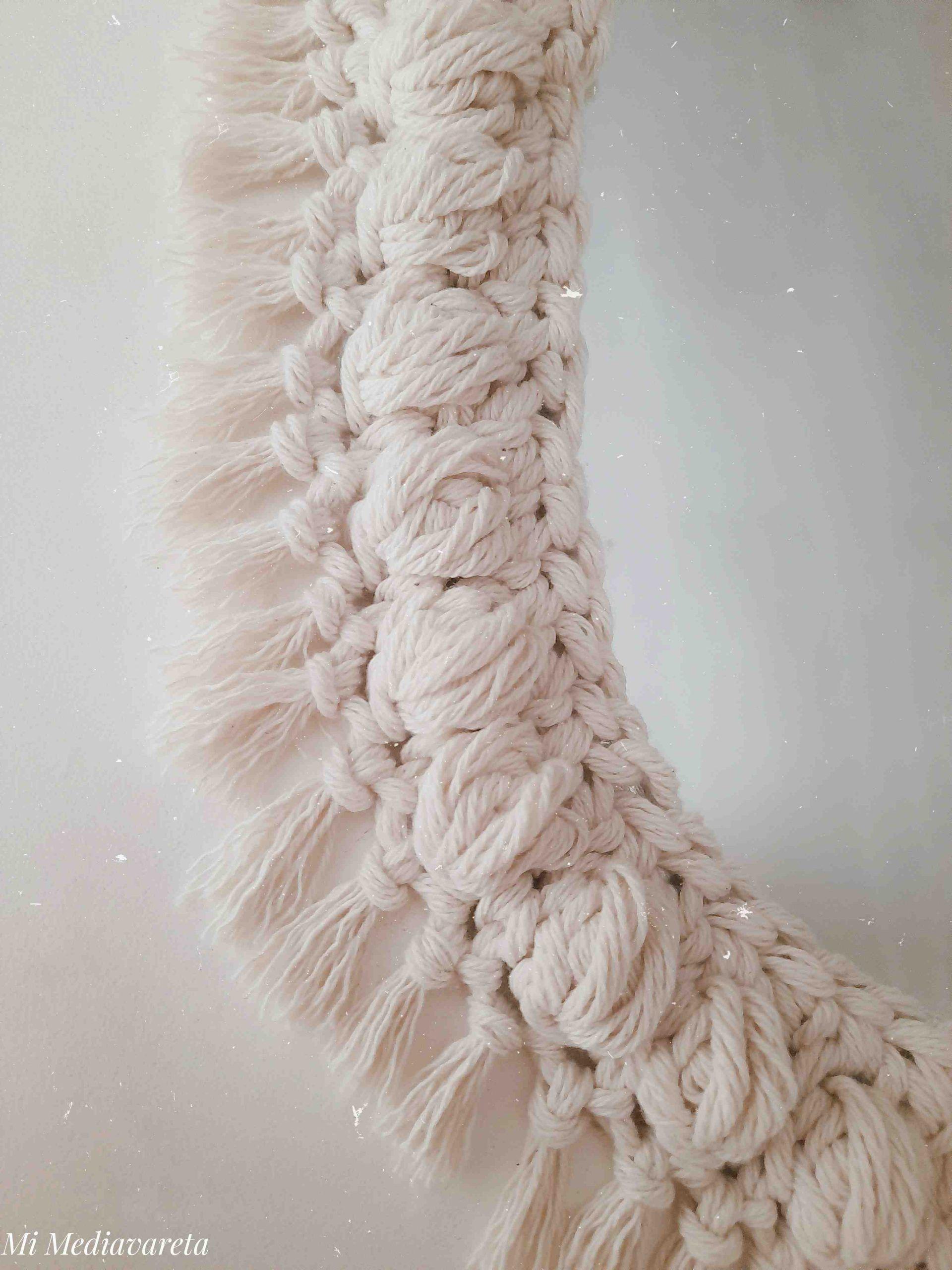 tutorial espejo a crochet con flecos super facil y rapido a crochet