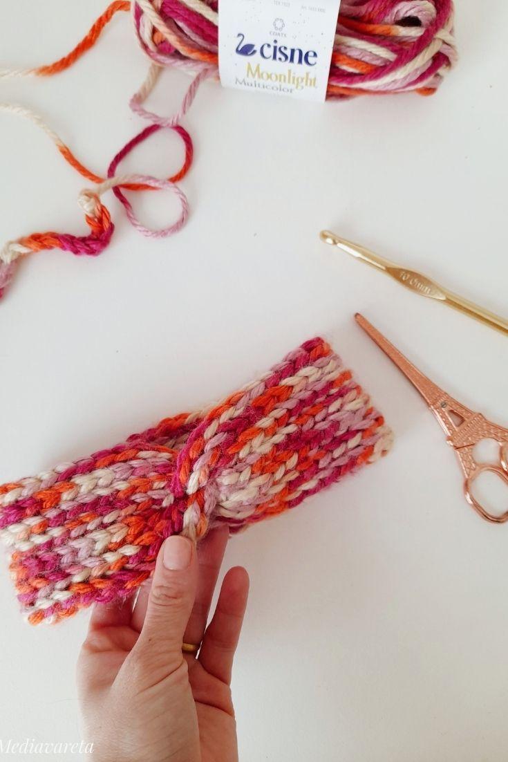 Aprende a tejer una vincha a crochet en punto falso elástico super fácil